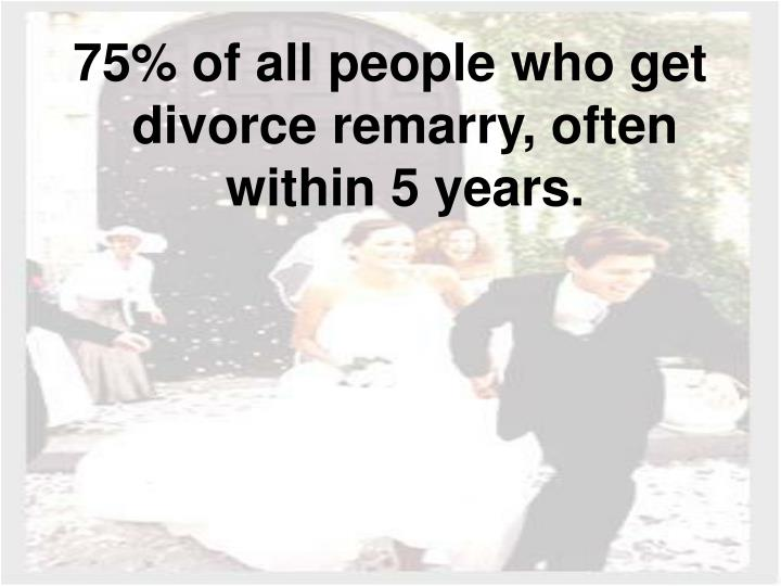 75% of all people who get divorce remarry, often within 5 years.