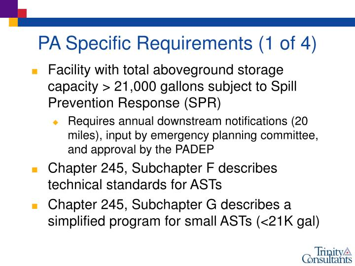 PA Specific Requirements (1 of 4)