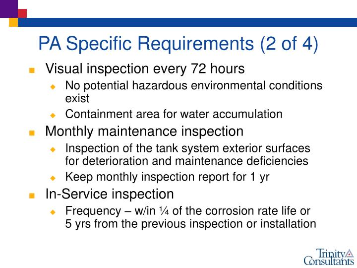 PA Specific Requirements (2 of 4)