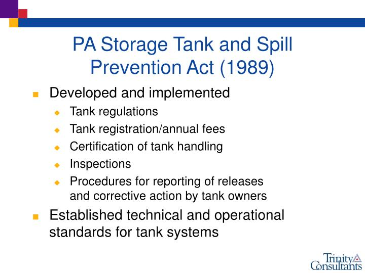 PA Storage Tank and Spill Prevention Act (1989)