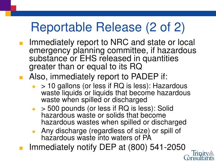 Reportable Release (2 of 2)