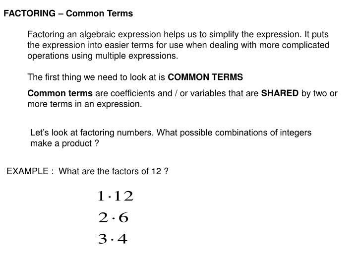 FACTORING – Common Terms