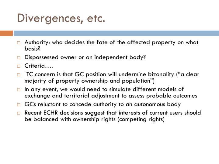Divergences, etc.