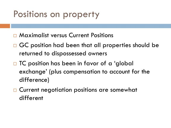 Positions on property