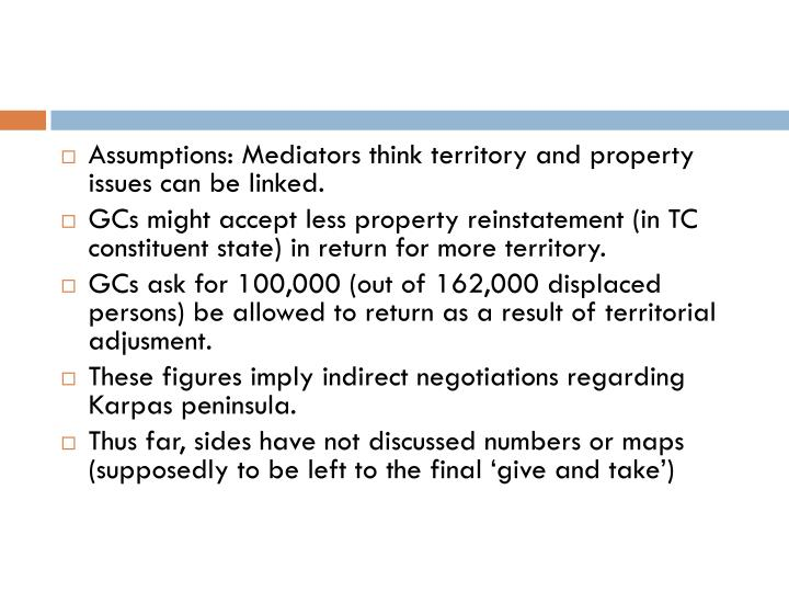 Assumptions: Mediators think territory and property issues can be linked.