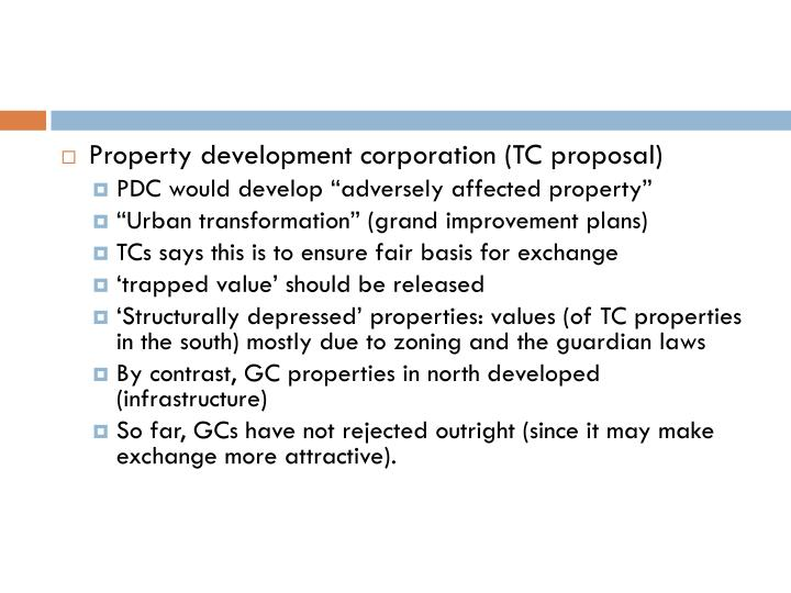 Property development corporation (TC proposal)