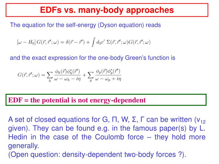 EDFs vs. many-body approaches