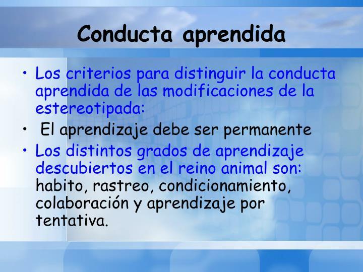 Conducta aprendida