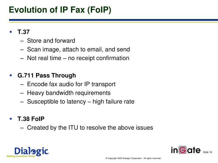 Evolution of IP Fax (FoIP)