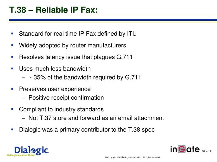 T.38 – Reliable IP Fax: