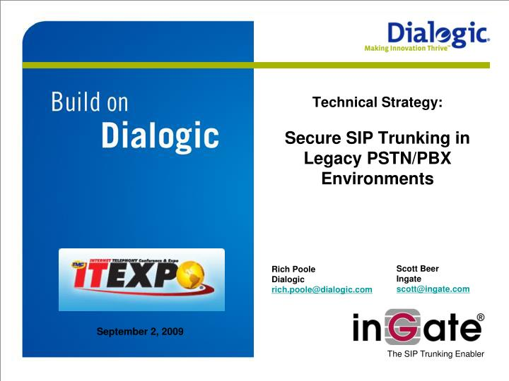 Technical strategy secure sip trunking in legacy pstn pbx environments