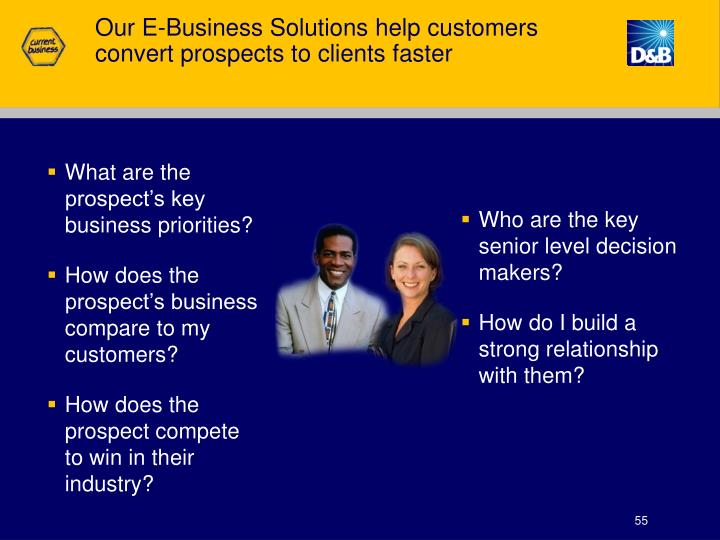 Our E-Business Solutions help customers