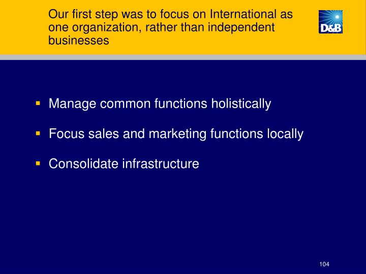 Our first step was to focus on International as one organization, rather than independent businesses