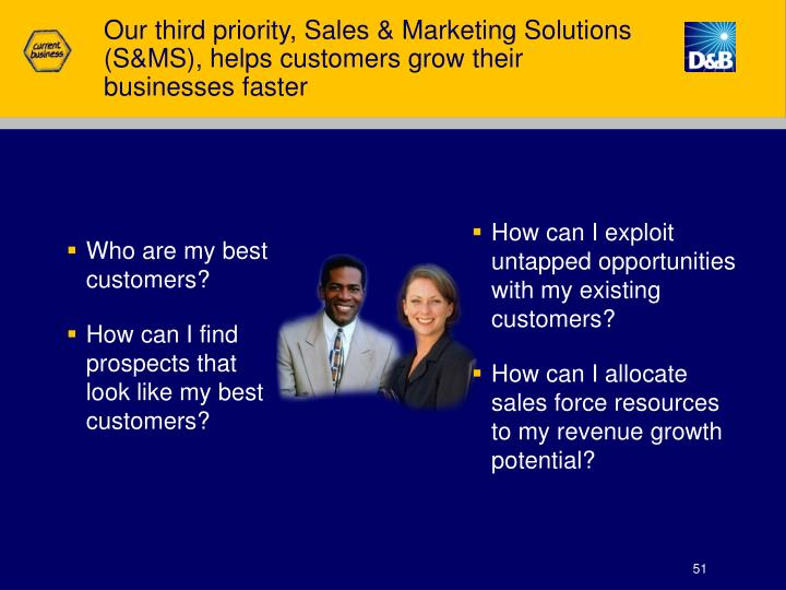 Our third priority, Sales & Marketing Solutions (S&MS), helps customers grow their
