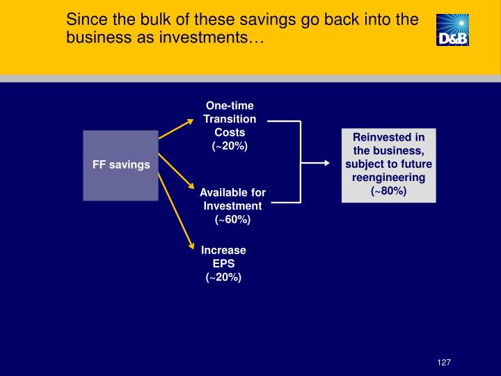 Since the bulk of these savings go back into the business as investments…
