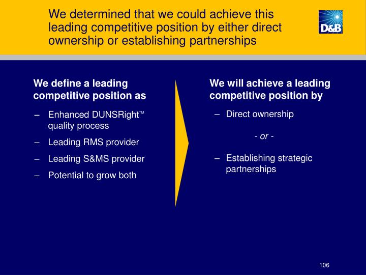We determined that we could achieve this leading competitive position by either direct ownership or establishing partnerships