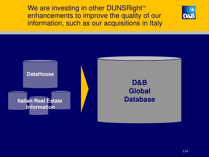 We are investing in other DUNSRight