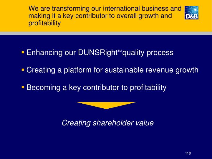 We are transforming our international business and making it a key contributor to overall growth and profitability