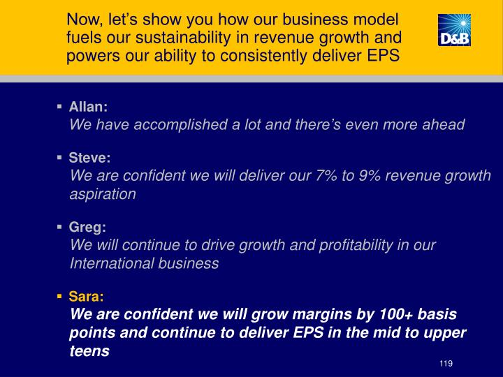 Now, let's show you how our business model fuels our sustainability in revenue growth and powers our ability to consistently deliver EPS
