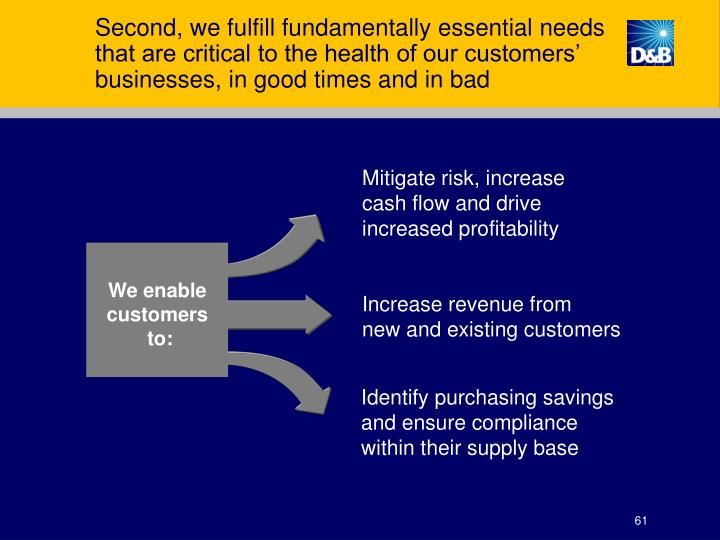 Second, we fulfill fundamentally essential needs that are critical to the health of our customers' businesses, in good times and in bad