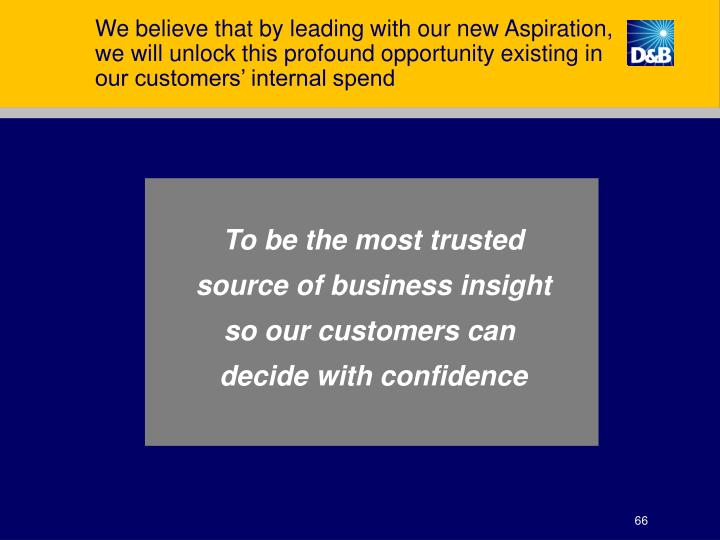 We believe that by leading with our new Aspiration, we will unlock this profound opportunity existing in our customers' internal spend