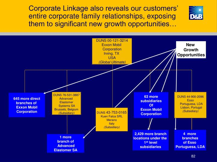 Corporate Linkage also reveals our customers' entire corporate family relationships, exposing them to significant new growth opportunities…