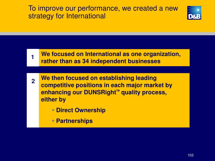 To improve our performance, we created a new strategy for International
