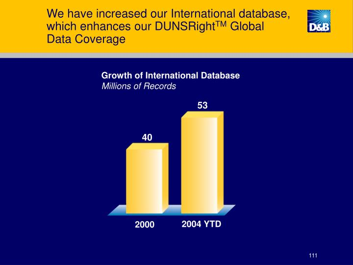 We have increased our International database, which enhances our DUNSRight