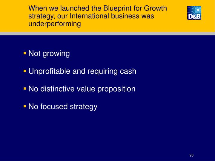 When we launched the Blueprint for Growth strategy, our International business was underperforming