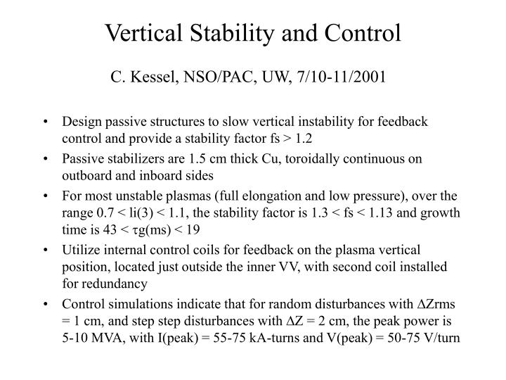 Vertical stability and control