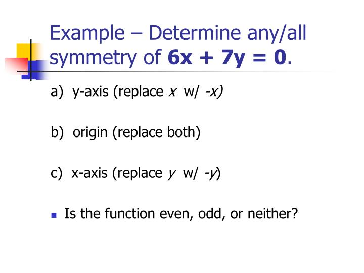 Example – Determine any/all symmetry of