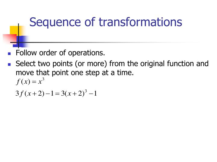 Sequence of transformations