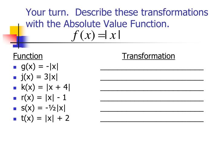 Your turn.  Describe these transformations with the Absolute Value Function.