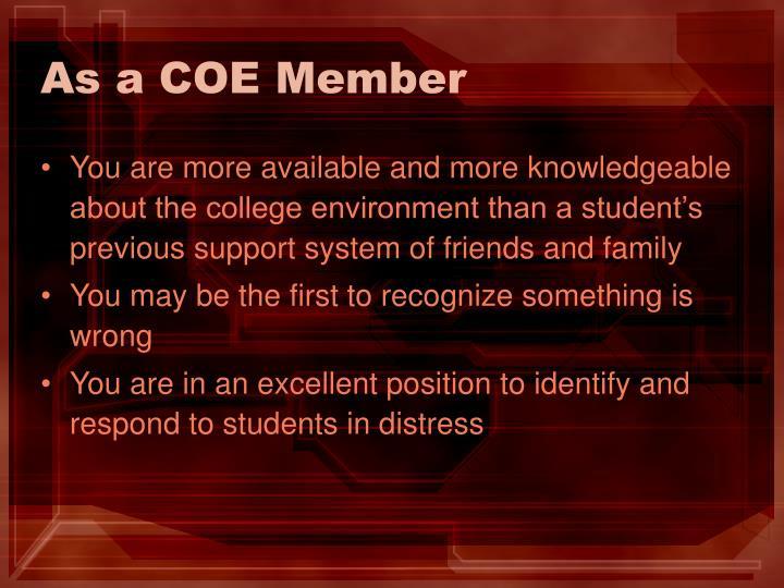 As a COE Member