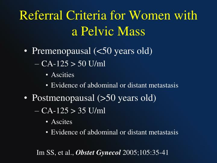 Referral Criteria for Women with a Pelvic Mass