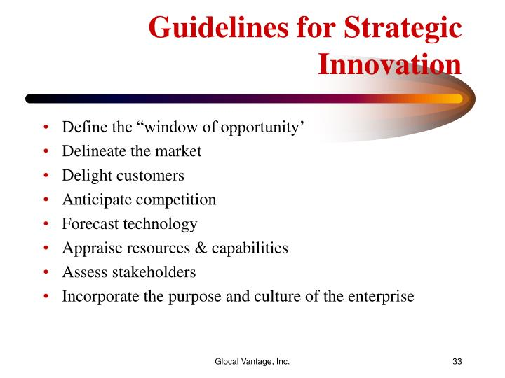 Guidelines for Strategic Innovation