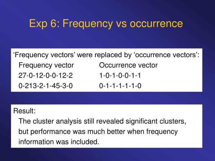 Exp 6: Frequency vs occurrence