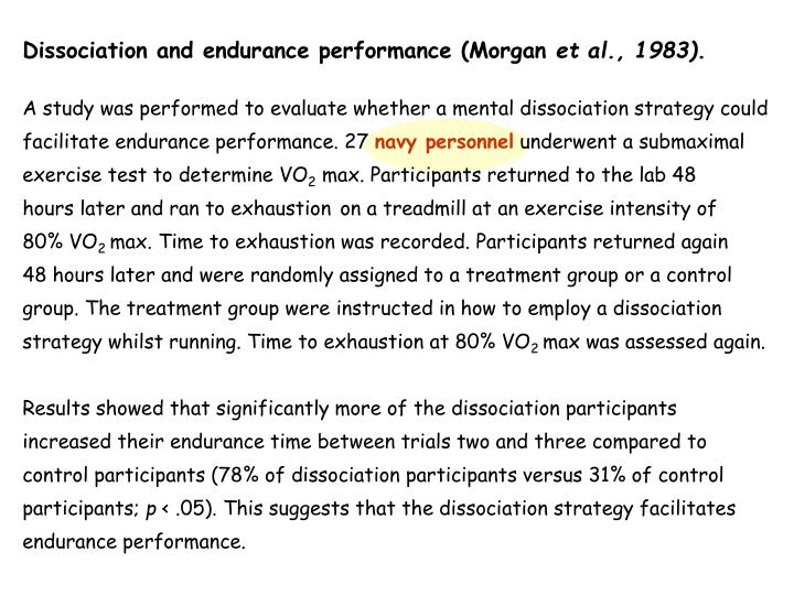 Dissociation and endurance performance (Morgan