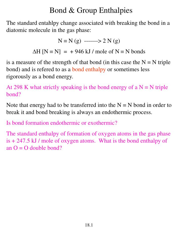 Bond & Group Enthalpies