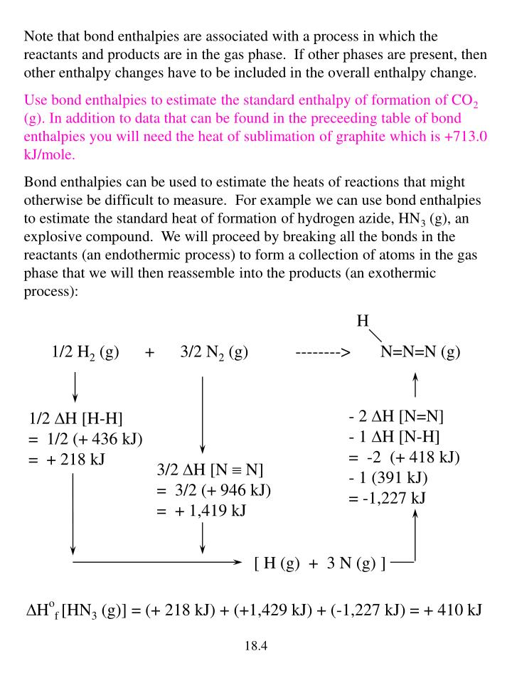 Note that bond enthalpies are associated with a process in which the reactants and products are in the gas phase.  If other phases are present, then other enthalpy changes have to be included in the overall enthalpy change.