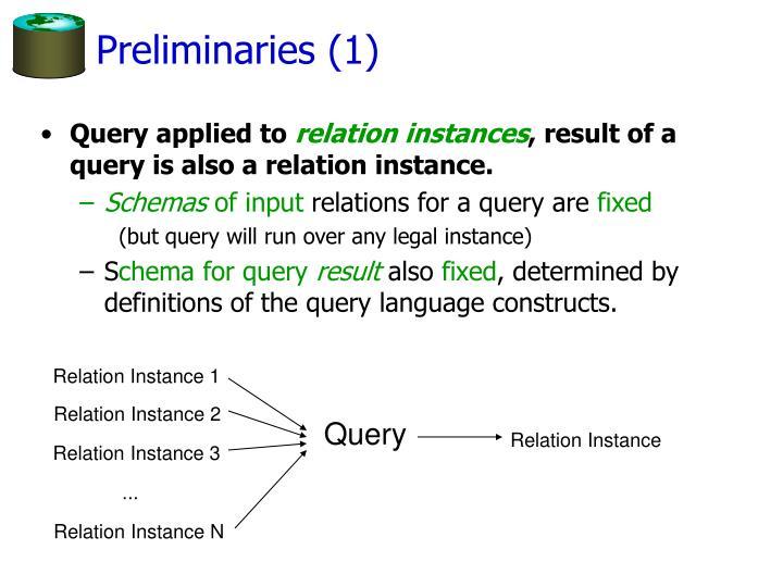 Preliminaries (1)