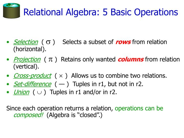 Relational Algebra: 5 Basic Operations