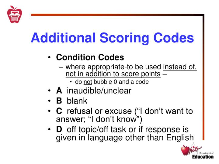 Additional Scoring Codes