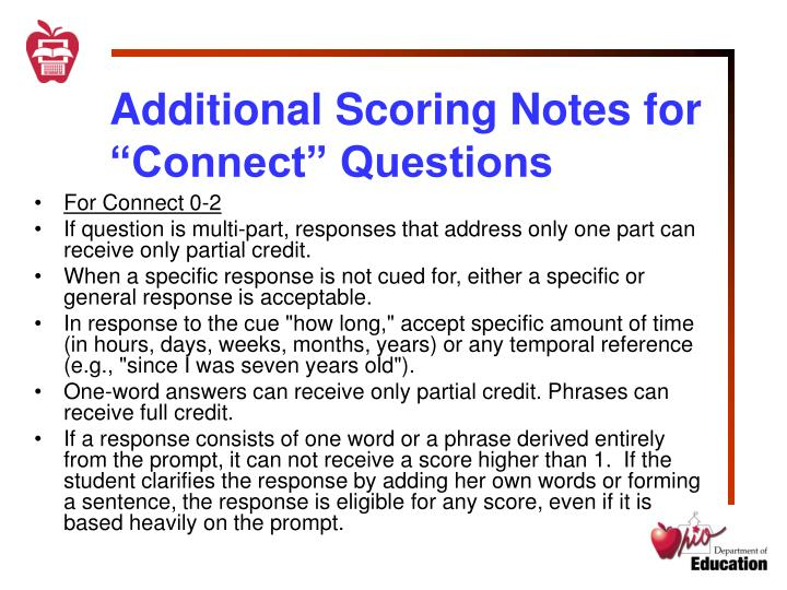 "Additional Scoring Notes for ""Connect"" Questions"