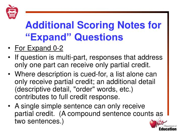 "Additional Scoring Notes for ""Expand"" Questions"