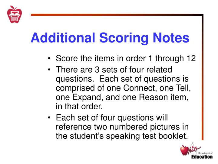 Additional Scoring Notes