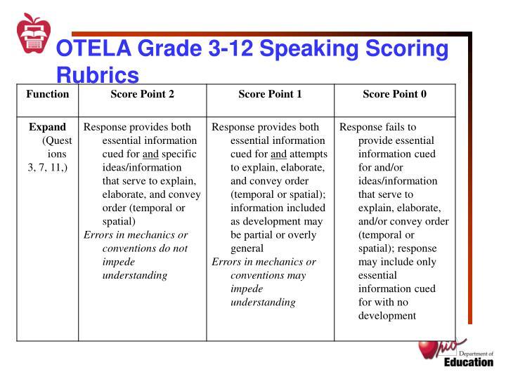 OTELA Grade 3-12 Speaking Scoring Rubrics