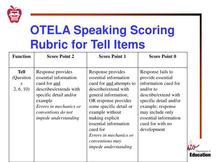 OTELA Speaking Scoring Rubric for Tell Items