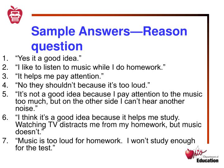 Sample Answers—Reason question
