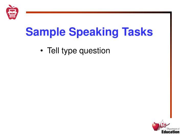 Sample Speaking Tasks